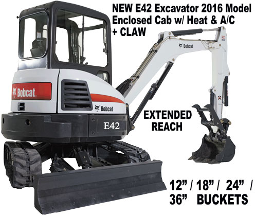 New Mini Excavator for Rent. E42 Bobcat model with extra long reach and Thumb or Claw.