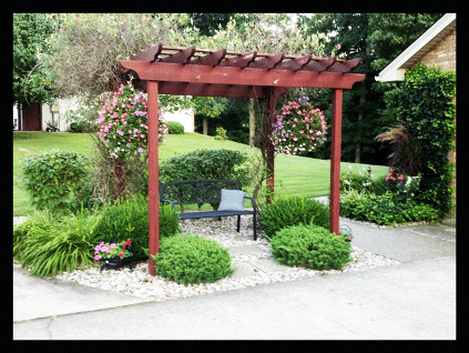 A little Pergolas in the side yard that has a bench under it to relax in keeping the sun off you.
