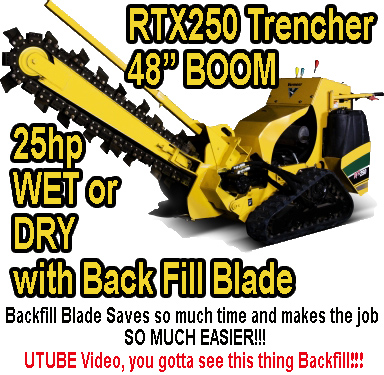 Trencher with Tracks 26hp that will trench in wet or dry ground.